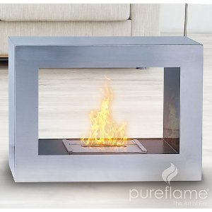 Silver Window Flame Biofuel Fireplace